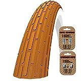 Schwalbe Fahrradreifen FAT FRANK - (HS-375) Mit K-Guard - ALLE FARBEN - 26 x 2,35 (60-559) - GRATIS VERSAND + kostenlose metall ventilkappen wert 3,99! (Braun)