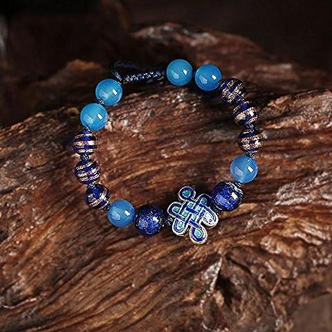 OUYANG Cloisonne cinese nodo braccialetto agata