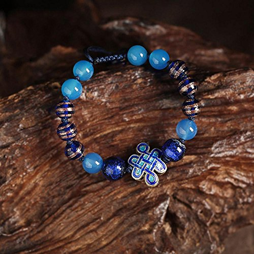 AIURLIFE Cloisonne cinese nodo braccialetto agata