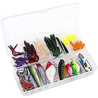 allimity 100Pcs Fishing Lures Set Portable Fun Fish Baits Kit for Saltwater and Freshwater with Tackle Box