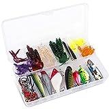allimity 100Pcs Fishing Lures Set Kit Esche Portatili per Pesci Divertenti per Acqua salata e Acqua Dolce con Scatola di Attrezzi