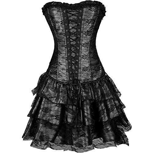 Czj-Innovation De las Mujeres Gótico Sin Tirantes Corsé con Vestido de Encaje (S, Negro)