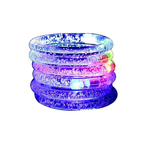 Mein Ji Juwelier 12 PCS LED Flash bunt Armband wiederverwendbar Acryl Manier Sender Licht Armband Groß für den Partei Geburtstag Hochzeit Farbe zufällig