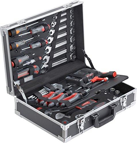 Meister Werkzeugkoffer 116-teilig - Stabiler Alu-Koffer - Werkzeug-Set - Für Haushalt, Garage & Werkstatt / Profi Werkzeugkoffer befüllt / Werkzeugkiste / Werkzeugbox komplett mit Werkzeug / 8971400