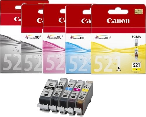 5 Canon Pixma MP550 Original Printer Ink Cartridges - Cyan / Magenta / Yellow / Black / Large Black - 245 Canon Tintenpatrone
