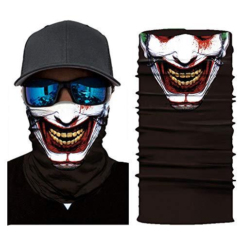bescita 2018 Horror Totenkop Maske Clown Halstuch Halloween Karneval Kostüm Fasching Party Radfahren Motorrad Hot (D)
