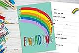 Deingastgeschenk 8 Stück Einladungen Kindergeburtstag Regenbogen (Passende Mitgebseltüten ASIN:B07JH4V64F)