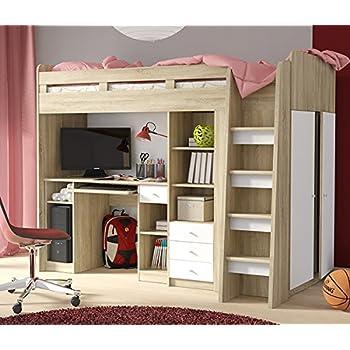 hochbett etagenbett mit kleiderschrank und schreibtisch 2151451 sonoma eiche wei. Black Bedroom Furniture Sets. Home Design Ideas