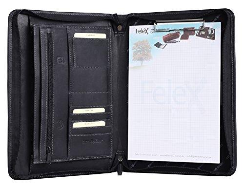 Greenburry Leder-Schreibmappe A4 Vintage - schwarze Konferenzmappe mit Reißverschluss – Echt Leder