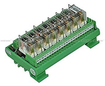 Shavison Relay Module AS365-24V-S-OE, 1C/O, 8 Channel, 24VDC Coil, OEN Relay, Reverse Blocking Diode, Socket Mounted Relay, Contact Rating : 28VDC/230VAC, 5A