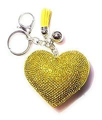 Idea Regalo - Portachiavi/pendente per borsa, con ciondoli a forma di cuore in strass, sfera e pompon e base metal, colore: Gelb (4027), cod. 4022-4031