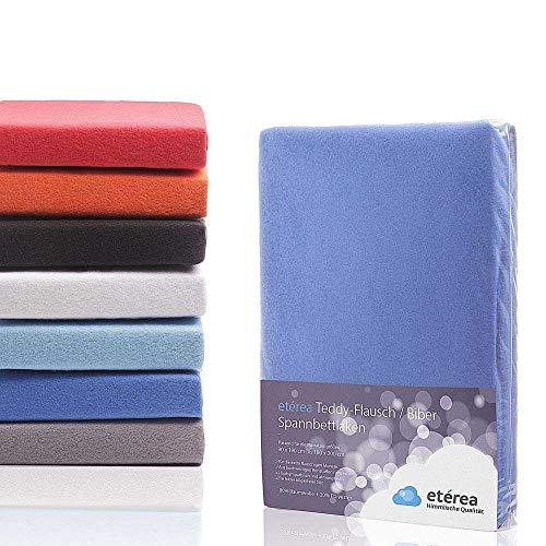#7 Etérea Teddy Flausch Kinder Spannbettlaken, Spannbetttuch, Bettlaken 6 Größen 18 Farben, 60x120-70x140 cm, Blau