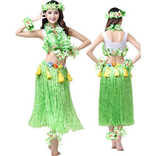 G-like Hula Tanz Kleid Kostüm - Hawaii Tanzkleid Grasrock Zubehör Sexy Outfit Kleidung Set Verzierung Quasten Blumen Party Cosplay Maskerade Strandurlaub für Damen Mädchen - Kunststoff 8 In 1 (Grün)