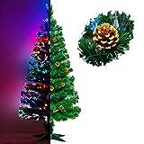 Künstlicher Glasfaser Weihnachtsbaum 120 cm mit LED Beleuchtung und echten vergoldete Zapfen Christbaum Tannenbaum