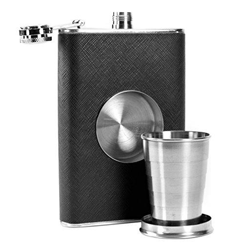 Flachmann mit integriertem Cup–klappbar Shot Glas–227ml Fläschchen Edelstahl & Teleskop Becher–Whisky Vodka Brandy Rum Shorts Container