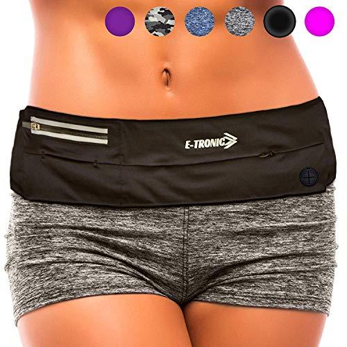 E Tronic Edge Handytasche Sport | Handy Umhängetasche für alle Modelle und alle Taillen Größen geeignet | Bauchtasche mit extra starkem und langlebigem Reißverschluss (Schwarz)