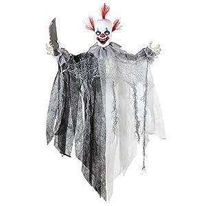 Widmann 01392 - Killer Clown con el cuchillo, animado con los ojos brillantes y música de circo, tamaño de aproximadamente 60 cm