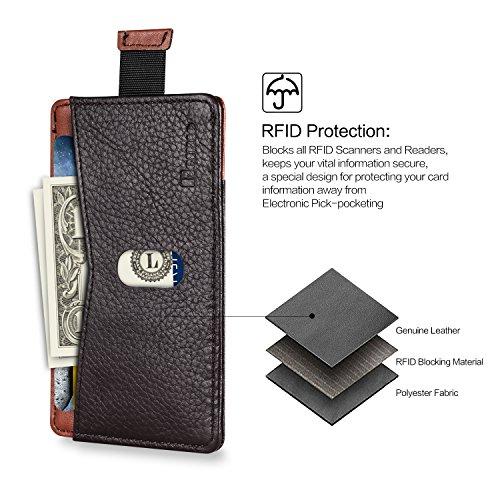 Benuo Echt Leder Kreditkartentasche mit RFID Shutz Ausweistasche Kreditkartenhülle Geldklammer Kreditkartenetui Geldbeutel Geldbörse für Verreisen / Außen / Shopping (Linien Leder Braun-Original
