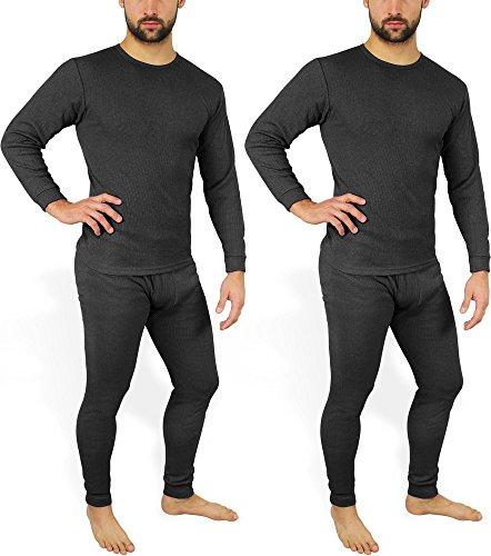 2 x Herren Thermo Unterwäsche - Ski Unterwäsche Garnitur - Lange Unterhose und Hemd - Thermounterwäsche Set Farbe Anthrazit Größe S