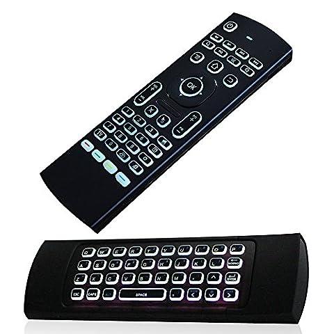 Justop F40Mini Télécommande 3D Air Mouse avec clavier QWERTY rétroéclairé Capteurs gyroscopiques intégrés Avec Nano récepteur USB Idéal pour box Android Kodi, HTPC, Smart TV, Apple TV, Rasberry Pi, ordinateurs portables, présentation, etc.