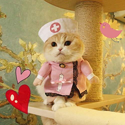 Sexy Anzug Katze Kostüm - MSSJ Lustige Haustier Kostüme Katze Hund Cosplay Anzug Halloween Weihnachten Krankenschwester Polizist Uniform Kleidung Welpen Hut Anzüge Party Dressing Up L Stil 3