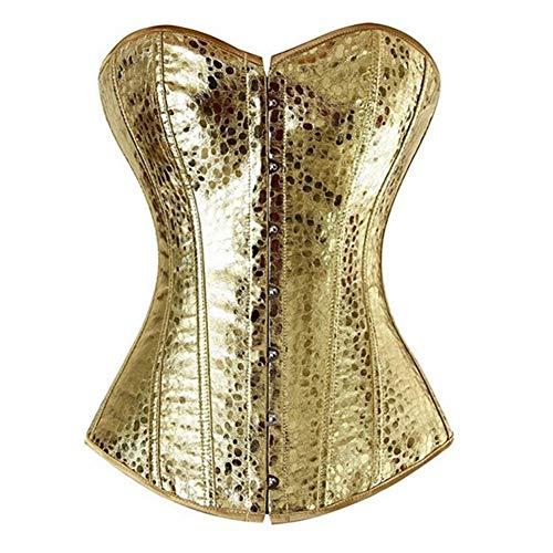 Plus Kostüm Größe Cosplay - ZJSEHFSD Leder Korsett Bustiers Röcke Kleider Tutu Plus Größe Korsett Kostüm Cosplay Gold mit Bling