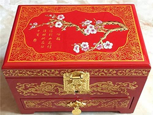 Z&J Pingyao Lackwaren Schmuckschatulle Schublade Aufbewahrungsbox Lack Handwerk Geschenkpreise,rot,21 * 14 * 15 cm -