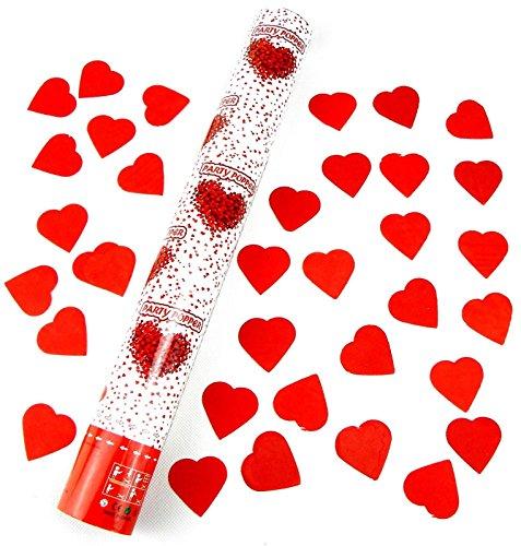 10 Konfetti Shooter mit Herzen 60 cm EXTRA LAUT Hochzeit Konfetti Kanone Roten Herz Party-Popper