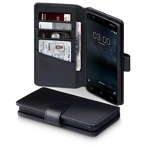 Nokia 3 Case, Terrapin [ECHT LEDER] Brieftasche Case Hülle mit Standfunktion Kartenfächer und Bargeld für Nokia 3 Hülle Schwarz
