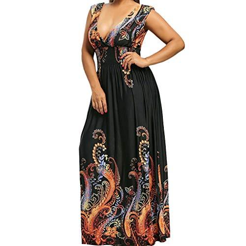 OverDose Boutique Damen Kleider, Mode Abendkleid Partykleid A-Linie Ärmellos V-Ausschnitt Rückenfrei Drucken Casual Boho Sommer Strand Maxikleid ()