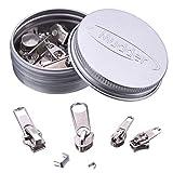 36 Stück Reißverschluss Ersatz Reißverschluss Reparatur Set, Silbern