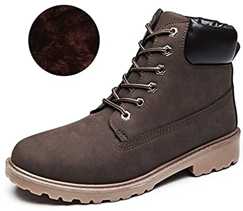 DADAWEN Unisex Adults' Outdoor Hiking Trekking Military Combat Boots-Brown UK Size 7.5