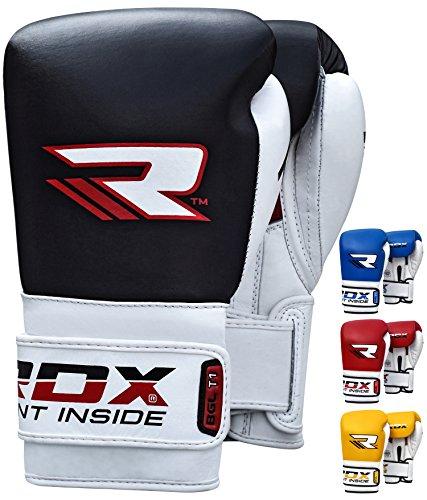 RDX Boxhandschuhe  Rindsleder Gel Pro T1 (Schwarz, 12 oz)