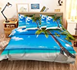 Blau 3d Strand Meer Himmel und Coco 313Bettwäsche Kissenbezug Quilt Bettbezug-Set mit König Königin | 3d-Bettwäsche, AJ Tapete mit 7