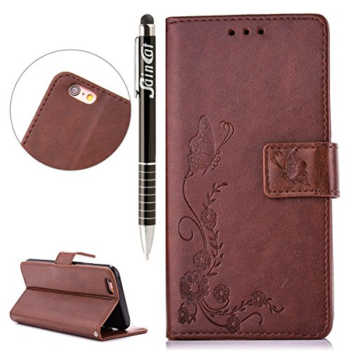iPhone 6S Plus Hülle, iPhone 6 Plus Hülle,SainCat Ledertasche Brieftasche im BookStyle PU Leder Wallet Case Folio Strass Rosa Schmetterling Silk Muster Schutzhülle hülle Bumper Handytasche Skin Backco Schmetterlings Druck-Braun