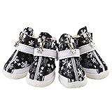 #7: Phenovo 4Pcs Pet Dog Puppy Waterproof Nonslip Cotton Shoes BootsPaw Protector For Small/Medium/Large Pet Dog (Snowflake Pattern) - Black #5