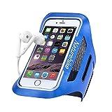 Brassard de sport universel anti-sueur pour iPhone 7/6/6s avec écran jusqu'à 5.7 pouces pour course, jogging, randonnée, cyclisme (avec bande réflective + détenteur de clé)-Bleu ciel L