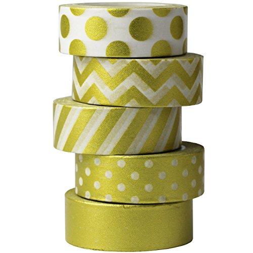 UOOOM 5pcs Dorado Cinta Decorativa Washi Tape Adhesivo Scrapbooking DIY Craft Regalo (Design 9043)