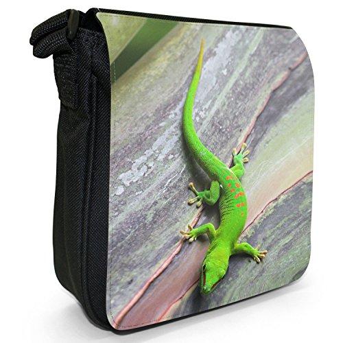 Lucertole Del Mondo piccolo nero Tela Borsa a tracolla, taglia S Green Lizard Climbing On Tree