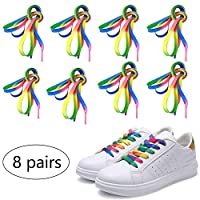 8 Pairs Rainbow Laces, Pride Rainbow Shoelaces Gradient Colour Neon Flat Skate Shoelaces for Boots Trainers Canvas Athletic Sneakers Flat Shoe