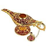 Genie Öllampe Sammelbare seltene Wishing klassische Vintage Aladdin Magic Genie Startseite Teekanne Öl Lampe Dekoration Geschenk(Golden Red)