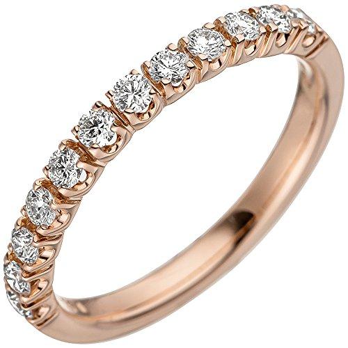 *GIRAHLUTIONS* Damen Ring 585 Gold Rotgold Gelbgold 12 Diamanten Brillanten Diamantring