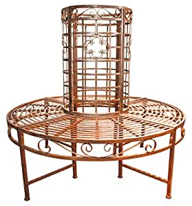 Garden Pleasure 950251 Baumbank aus Metall, pulverbeschichtet in bronzefarbener Rostoptik, rund