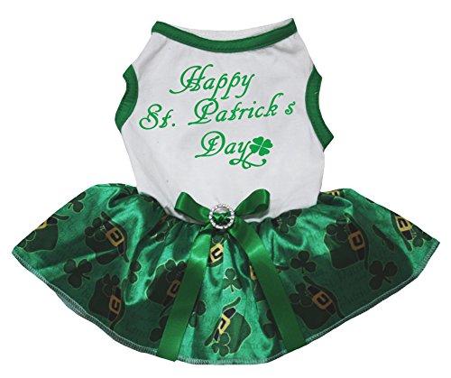 petitebelle Dog liefert Happy St. Patrick 's Day T-Shirt Clover Hat Grün Kleid