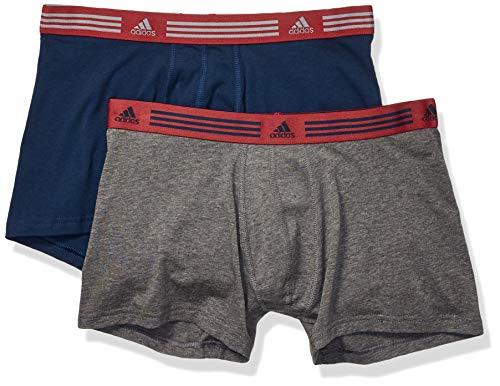 Adidas Herren Athletic Stretch Cotton Trunk Unterwäsche (2er Pack), Herren, Men's Athletic Stretch 2-Pack Trunk, Collegiate Navy/Noble Maroon Heather/Dark Grey, Large (Maroon Unterwäsche Herren)