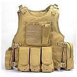 Camo Gilet Tactique, Veste Porte Plaque Ajustable pour Armée, Police, Equipement...