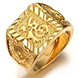 Halukakah ● Gold Segne Alle ● Männlich 18K Gold überzogen Kanji Ring Glück Größe verstellbar mit KOSTENLOSER Geschenkpackung