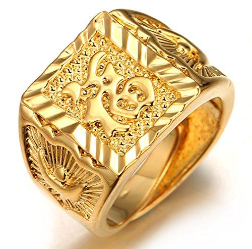 Halukakah ● Gold Segne Alle ● Männlich 18K Gold überzogen Kanji Ring Glück Größe verstellbar mit KOSTENLOSER Geschenkpackung (Cz Ring Herren Gold)