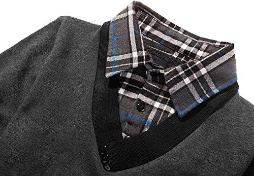 BOMOVO Herren Hemdkragen Strickpullover Pullover Gefälschte Zwei Sweatshirt Dark Grau