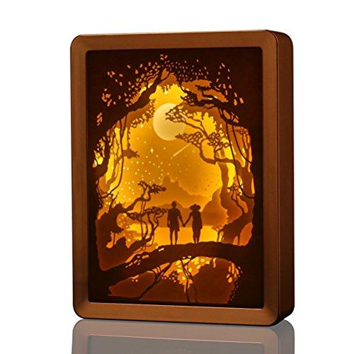 LEDMOMO USB entspannende Tischleuchte Papercut Light Boxen Schlafzimmer Wohnzimmer 3D Shadow Lampe für Kinder und Erwachsene (Champaign Gold) (Box-schatten-tischleuchte)